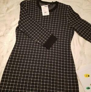 Theory Lemdrella Windowpane Sweater Dress   Luster